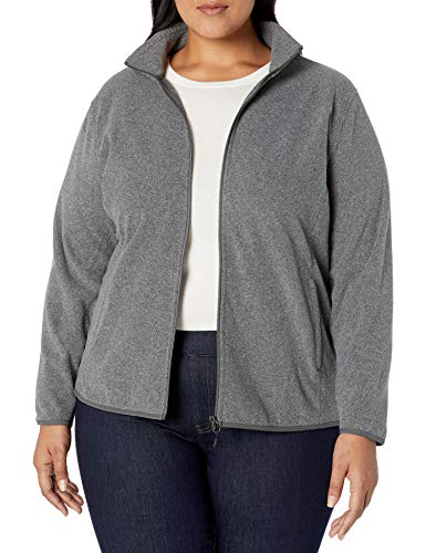 Amazon Essentials Plus Size Full-Zip Polar fleece-outerwear-jackets, Charcoal Heather, 6X