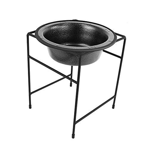 Platinum Pets Modern Single Diner Feeder with Stainless Steel Dog Bowl, Medium, Silver Vein