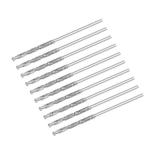sourcing map 0,9 mm Diamant-Spiralbohrer, Hochgeschwindigkeitsstahl, HSS für Glas, Muscheln, Stein, Fliesen, 10 Stück