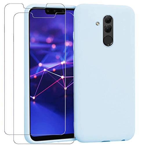 "Ingen - Funda para Huawei Mate 20 Lite + 2 Pack Protector de Pantalla, Funda Suave de Silicona Líquida con tapete de Microfibra Anti-Rasguño. para Huawei Mate 20 Lite 6.3"".Azul Claro."