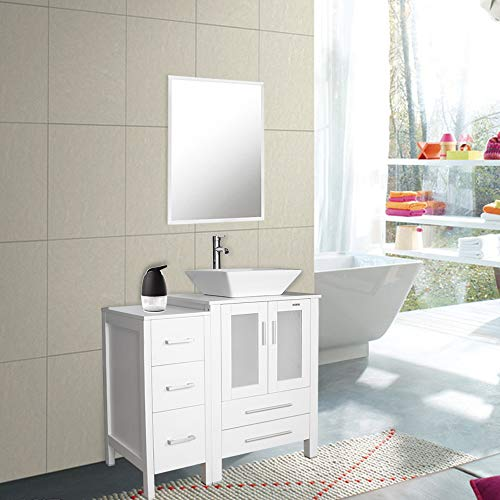 36' White Bathroom Vanity and Sink Combo,Counter Top Baisn Square Ceramic Vessel Sink w/Faucet/Pop Up Drain,Removable Vanity MDF Board,W/Mirror, (1x Main Cabinet;1x Side Cabinet;1x Sink Combo)