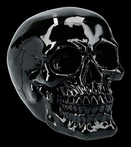 Figuren Shop GmbH Gothic Totenkopf - glänzend, schwarz, massiv, schwer | Fantasy Skull, Totenschädel, Kopf-Skulptur, Deko-Figur, Deko-Artikel, H 12 cm