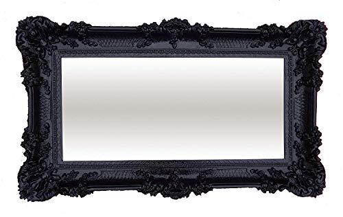 XXL Barockspiegel Wandspiegel Schwarz 96x57cm Antik Barock Rokoko Wanddeko Luxuriös Retro Look NEU