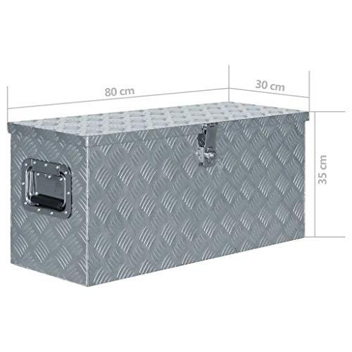 WENXIA Alubox | Allzweck-Transportkoffer | Deichselbox | Aufbewahrungsbox | mit Verriegelungssystem | Silber 80 × 30 × 35 cm - 7