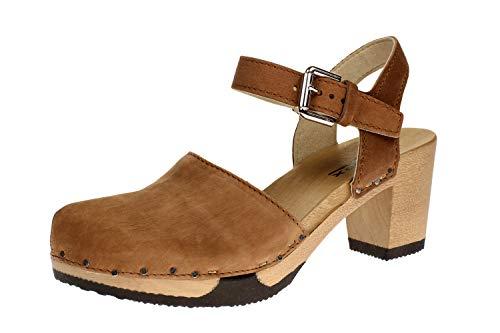 Softclox S3523 Vonda Nature Nappa - Damen Schuhe offene Schuhe - 02-Cognac, Größe:39 EU