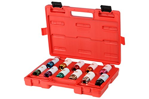 Chicago Pneumatic SS4211WP Metric and SAE Wheel Nut Protector Impact Socket Set, 1/2-Inch Drive (11-Piece)