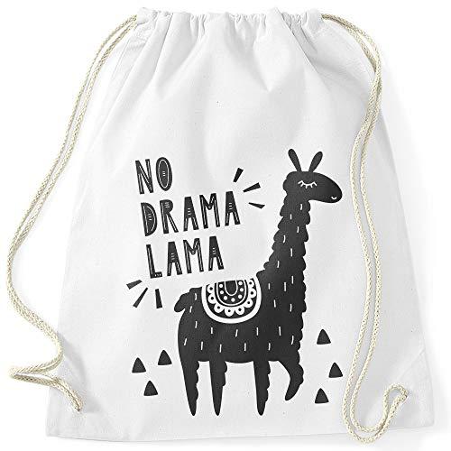 MoonWorks® Turnbeutel mit Spruch No Drama Lama Motiv Llama Alpaka weiß Unisize