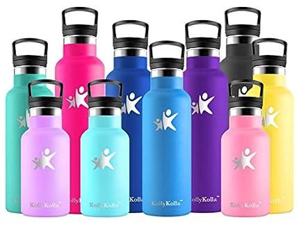 KollyKolla Botella de Agua Acero Inoxidable, Termo Sin BPA Ecológica Reutilizable, Botella Termica con Pajita y Filtro, Water Bottle para Niños & Adultos, Deporte, Oficina, Yoga, (350ml Azul Medio)