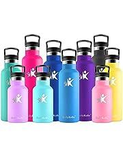 KollyKolla Botella de Agua Acero Inoxidable - 350/500/600/750ml/1L, Termo Sin BPA Ecológica Reutilizable, Botella Termica con Pajita y Filtro, Water Bottle para Niños & Adultos, Deporte, Oficina