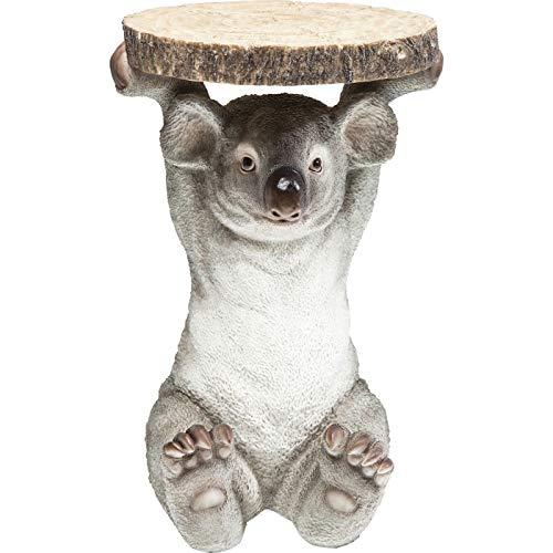 Kare Design Beistelltisch Animal Koala,  Ø33cm, kleiner, runder Couchtisch, Holzoptik, Tierfigur als ausgefallener Wohnzimmertisch (H/B/T) 52x35x35cm