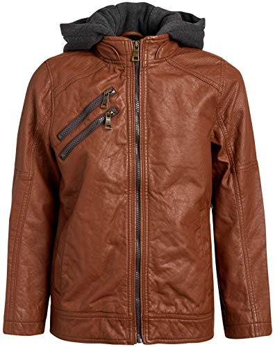 Urban Republic Boys Faux Leather Moto Jacket with Zipper Pockets and Fleece Hood, (7, Cognac Brown Moto)