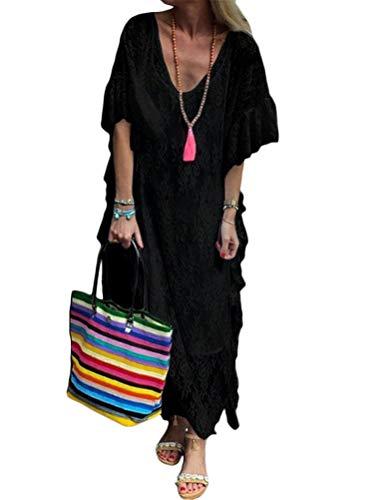 Minetom Damen Kurzarm V-Ausschnitt Retro Sommer Spitzen Strandkleid Maxi Kleider Boho Lang Lose Sommerkleid A Schwarz 48