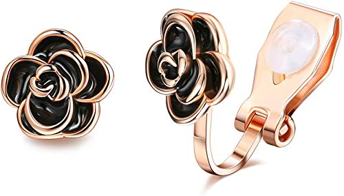 Adramata Pendientes de clip de flores para mujer Pendientes de clip de oro rosa No perforados Clip de oreja lindo sin dolor Joyería de moda