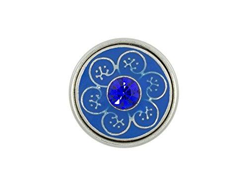 Chunk Click Button Ornament Stein blau silber
