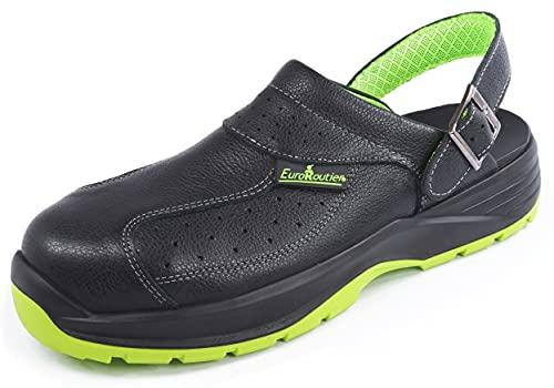 EuroRoutier Premium Fenix Negro Cuero Genuino, Zuecos, Zapatillas de Seguridad Certificado SB+A+E+FO+SRC, Color Negro (Numeric_43)