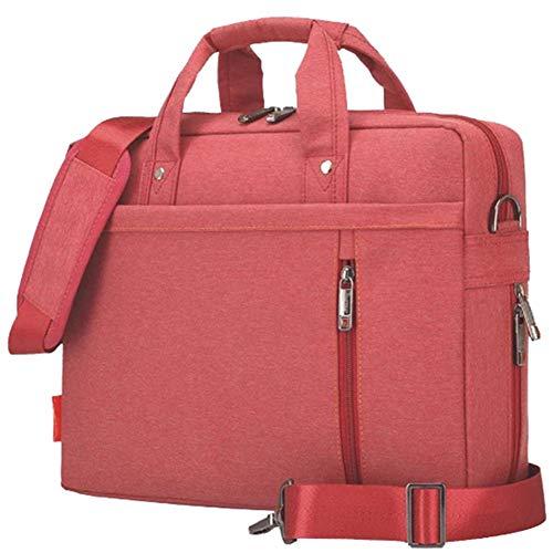 Bolsa de Ordenador Portátil Nylon Espacioso Elegante Bolsa Mensajero de Manija Maletín Tableta con Bolsillos Múltiples para 17 Pulgadas Laptop, Versión 3 Rojo