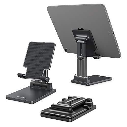 OMOTON Soporte Tablet Móvil Mesa, Multiángulo Soporte Plegable con Varilla Doble Ajustable, Dock Base Compatible con iPad Air 4 3 2, Huawei, Xiaomi Sumsung para Tablet 5-11 Pulgadas, Negro