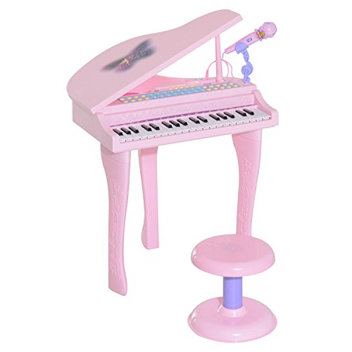 Qaba Pink 37-Key Baby Grand Electric Piano for Kids with Microphone and Stool