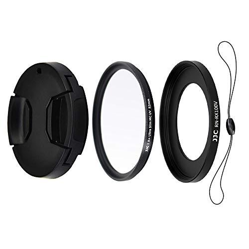 JJC Kit de Lentes para Sony RX100VA, RX100V, RX100IV, RX100III, RX100II, RX100 - Incluye Adaptador de Filtro de 52mm, Filtro UV, Tapa de Objetivo y Cadena de Tapa para Objetivo