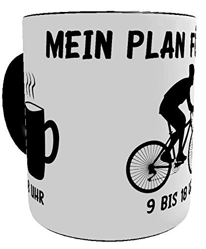 Kinderlampenland KaffeeTasse Mein Plan für Heute lustige Sprüchetasse Geburtstagsgeschenk Hobby Motiv Radfahrer Geschenk-Verpackung (Mountainbiker)