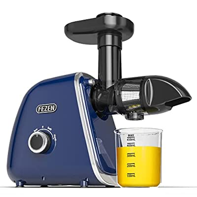 Fezen Slow Juicer, Slow Masticating Juicer with 95% Juice Yield, Easy to Clean Juicer, Cold Press Juicer with Reverse Function, Quiet Motor and Brush, Juicer Machine for Vegetable and Fruit
