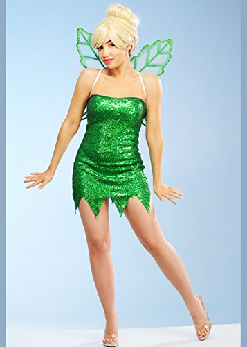 Magic Box Traje de Hadas de Lentejuelas de Estilo Verde Tinkerbell para Mujer Large (UK 12-14)