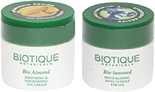 Biotique Bio Seaweed Revitalizing Anti Fatigue Eye Gel, 15g|Bio Almond Soothing And Nourishing Eye Cream, 15g|Set of 2 Items