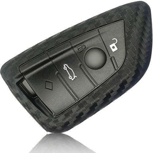 FoilsAndMore Funda Compatible con BMW Llave de Coche con 3-4 Botones Plegable (sólo Keyless-Go) - Silicona Cubierta Protectora Cover Caso Clave in Carbon Negro