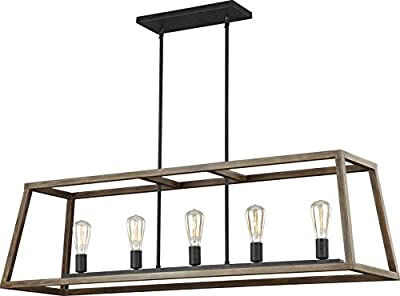"Feiss F3190/4WOW/AF Gannet Wood Lantern Pendant Lighting, Brown, 4-Light (12""W x 17""H) 240watts"