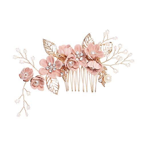 Luxus-Haarnadel Blauer Blume Haarkämme Kopfschmuck Prom Braut Hochzeit Haarschmuck Goldblätter Haarschmuck (pink)