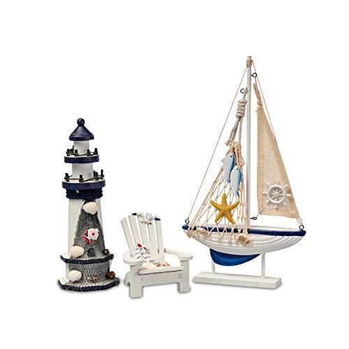 Flanacom Badezimmer Deko - 3er Set - Maritime Badezimmer Deko - Leuchtturm, Segel-Schiff und Strand-Stuhl aus Holz - Badaccessoires - Schöne Deko für das Bad - Design 4