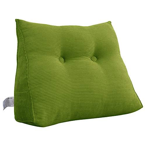 VERCART Cojín de Lectura Almohada Lumbar Espalda Triangular Cojín de Lectura Almohada de Lectura Cuña Ergonómico Dossier para Sofá Cama Pallet Verde 60CM