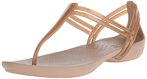 Crocs Isabella T Strap, Damen Slip On Sandalen, Gold (Bronze), 39/40 EU