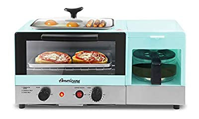 Elite Gourmet Americana Slice, Griddle with Glass Lid 3-in-1 Breakfast Center Station, 4-Cup Coffeemaker, Toaster Oven with 15-Min Timer, Heat Selector Mode, 2, Blue