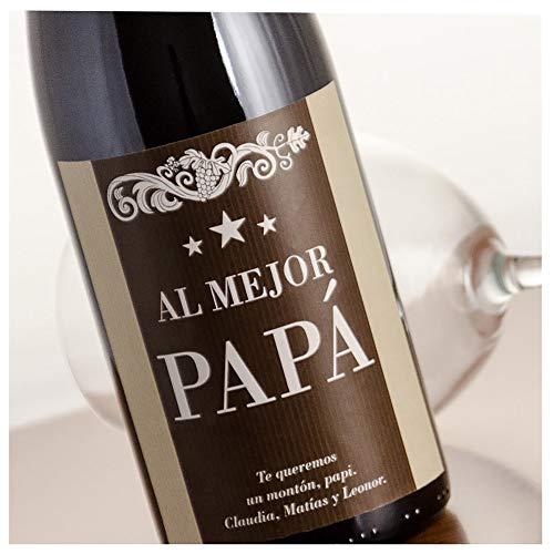 Regalo para Padres Personalizable: Botella de Vino Personalizada con la dedicatoria Que Quieras, en Caja de Madera Personalizada