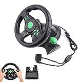 Lazmin Volante Gaming Racing, Pedales del Volante Gaming Vibration Racing para Xbox 360/PS2/PS3/PC USB