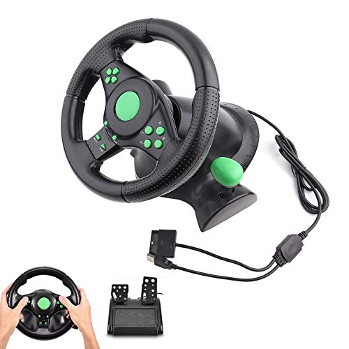 Lazmin Gaming Racing Lenkrad, Gaming Vibration Racing Lenkradpedale für Xbox 360/PS2/PS3/PC USB