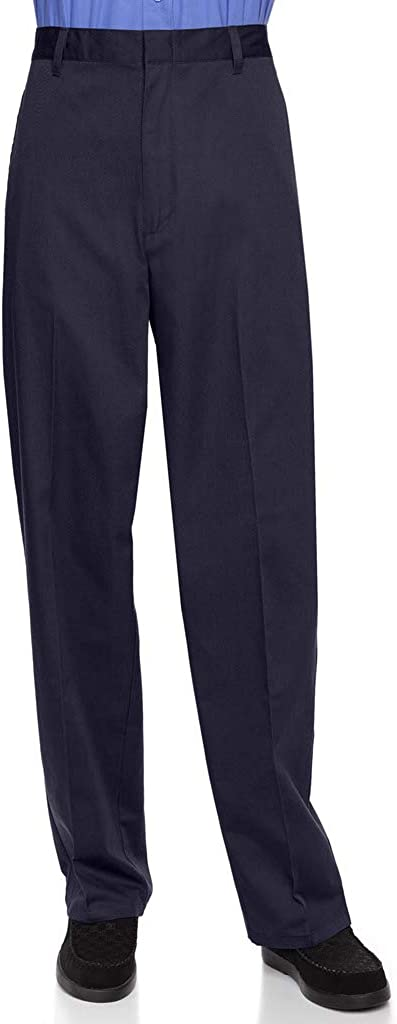 AKA Half Elastic Wrinkle Free Flat Front Men's Slacks – Relaxed Fit Twill Casual Pant