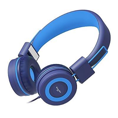 Elecder i37 Kids Headphones Children Girls Boys Teens Adults Foldable Adjustable On Ear Headsets 3.5mm Jack Compatible iPad Cellphones Computer MP3/4 Kindle Airplane School Tablet Blue/Light Blue by ELECDER