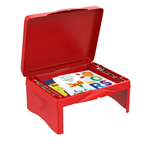 Hey! Play! Lap Desk for Kids-Folding Collapsible Portable Table with Storage for Paper, Pencils, Books-Kids Activity Tray for Writing, Crafts, Art