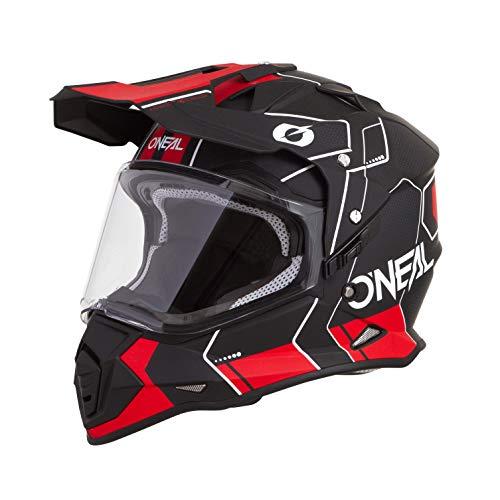 O'NEAL | Casco de Motocicleta | Enduro de Motocicleta | Casco ABS, Visera Solar integrada | Peine de Casco Sierra | Adultos (Negro Rojo, S (55-56 cm))