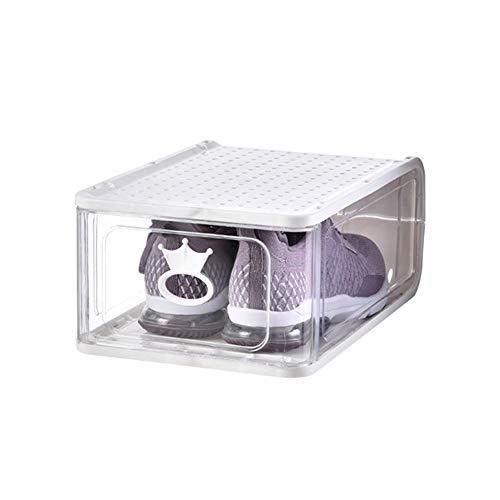 KKING Cajas De Almacenamiento, Caja De Zapatos Apilable, Gabinete Modular para Ahorrar Espacio De Almacenamiento, Estante De Exhibición Transparente Sólido, 4 Piezas,Gris,13 * 10.43 * 6.89in