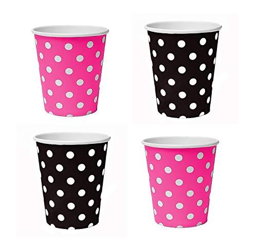100 x beker 200 ml stippen (zwart, roze), kartonnen bekers, wegwerpbekers voor dranken, snacks, warme en koude dranken (roze-zwart)