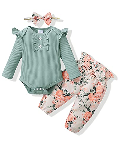 Newborn Baby Girl Clothes Outfits Romper Pants Set Cotton Baby Girls'...