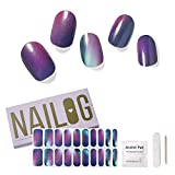 NAILOG Semi Cured Gel Nail Strips (20 Extra Long Polish Stickers / Wraps) │ Buy 2 Get 1 Lamp │ Glossy & Long Lasting Soft Gel Finishing │ Pearlescent Aurora