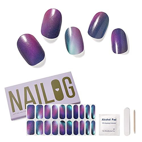 NAILOG Semi Cured Gel Nail Strips (20 Extra Long Polish Stickers /...