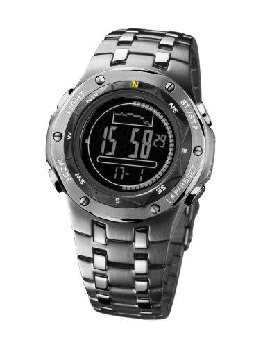 Caterpillar Navigo CA1612 - Reloj digital de caballero de cuarzo con correa de acero inoxidable plateada (alarma)