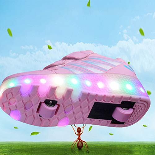 YURU Heelies Light Sneakers Mit Double Two Wheel Boy Girl Rollschuh Freizeitschuh Mit Roller Girl,Pink-EU30