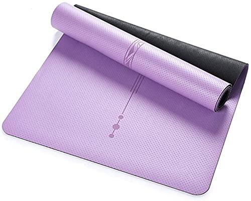 LSLS Esterilla De Yoga 5 mm Eco amigable alfombra de yoga con líneas de alineación, tapete de yoga antiadherente TPE para todo tipo de yoga, ejercicio extra grande y estera de fitness Esterilla Fitnes