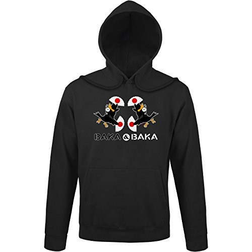 Okiwoki Sweat-Shirt à Capuche Noir Parodie Baka Baka - Manga Style - Baka Baka Fiesta (Version Duo !) (Sweatshirt de qualité Premium de Taille M - imprimé en France)